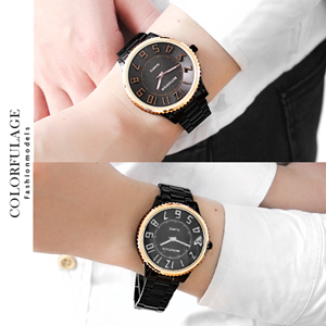 時尚黑高磅數浮雕設計腕錶