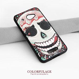 HTC Butterfly 彩繪骷髏手機殼