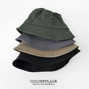 韓系簡約帆布素面漁夫帽