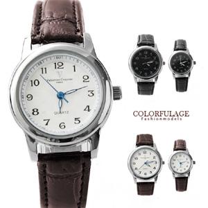 Valentino范倫鐵諾格紋真皮錶