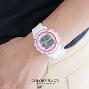 撞色美學多功能炫彩電子膠錶