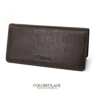 精緻皮革紋路深咖啡色真皮長夾