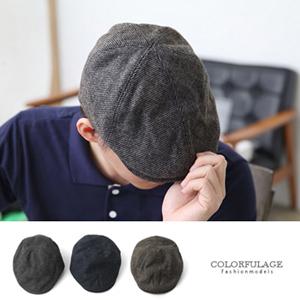 混色毛呢毛線編織扁帽