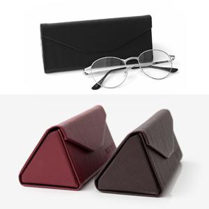 質感皮革三角型摺疊眼鏡盒