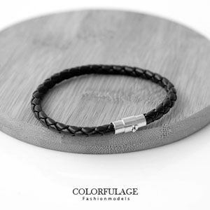 磁吸式細版皮革個性編織手環