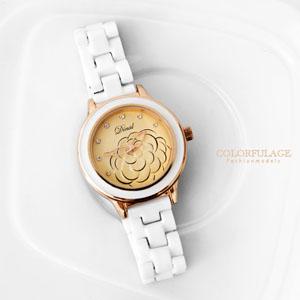立體浮雕清新山茶花陶瓷腕錶