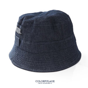 貼標丹寧原色布料漁夫帽