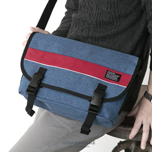 休閒拼接色系掀蓋式帆布側背包