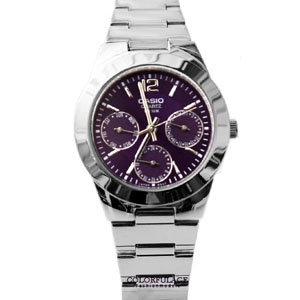 CASIO卡西歐紫色真三眼手錶