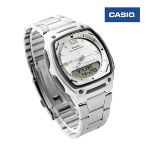 CASIO卡西歐方型白雙顯手錶