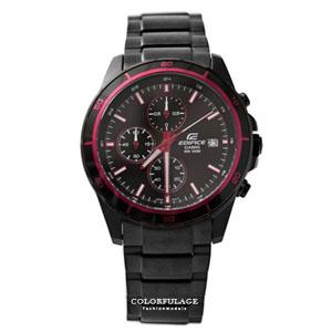 EDIFICE系列紅黑三眼腕錶