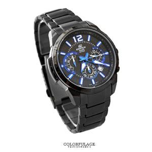 EDIFICE系列 藍黑色三眼錶