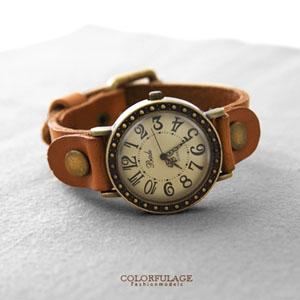 復刻邊框異國風真皮腕錶
