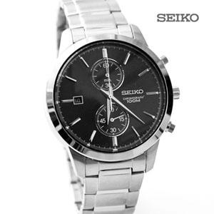 SEIKO黑面雙眼計時不鏽鋼錶
