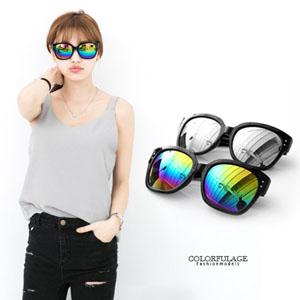 新潮粗框大鏡面反光中性墨鏡