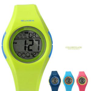 JAGA捷卡流線撞色電子錶