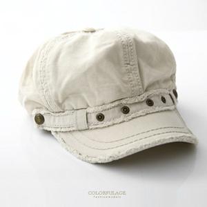 韓版毛邊造型米白色棉質帽