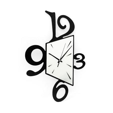 个性几何黑白数字木质挂钟