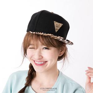 硬挺材質三角金牌豹紋板帽