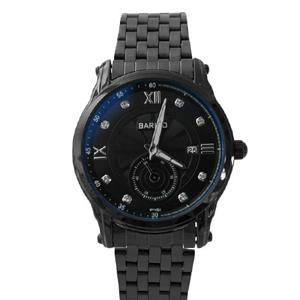 全黑水鑽刻度金屬腕錶