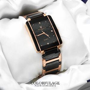 Valentino范倫鐵諾玫金格紋錶