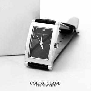 Valentino范倫格紋長方皮革錶