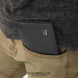 低調黑色系加長設計版真皮短夾