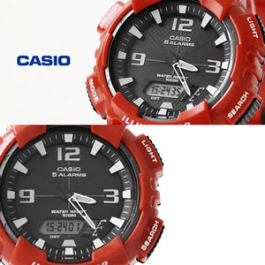 CASIO卡西歐紅色雙顯運動錶