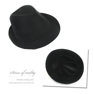 全黑潮流時尚紳士帽