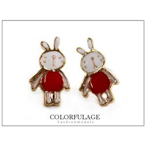 可愛迷你兔子金邊耳針耳環