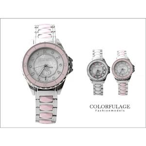 Hello Kitty玫瑰金陶瓷鑲鑽錶
