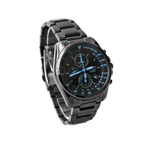 SEIKO 精工錶 藍極光全黑真三眼手錶