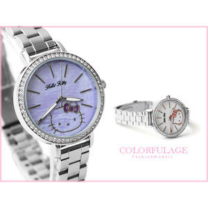 Hello Kitty凱蒂貓 滿鑽珍珠貝殼錶