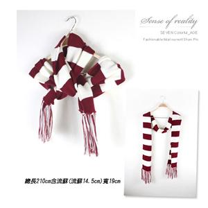 線條秋冬保暖圍巾