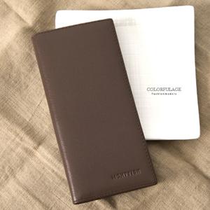 巧克力色細紋真皮長夾