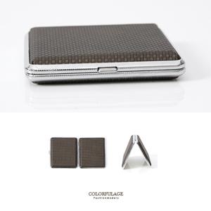 咖啡色編織紋路短版煙盒