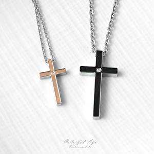 簡約立體單鑽十字架項鍊