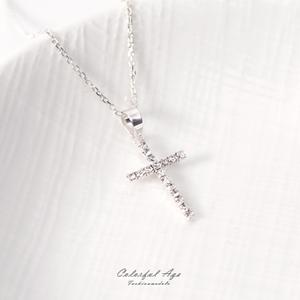 925純銀細緻水鑽十字架項鍊