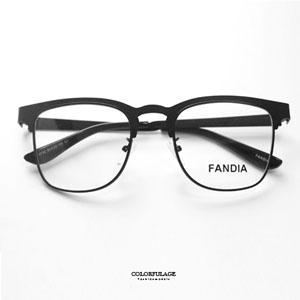 亮面素黑復古眉框光學眼鏡