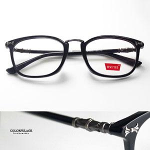 亮面立體刻紋黑框光學眼鏡