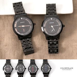 全黑鏤空獨立秒針金屬手錶