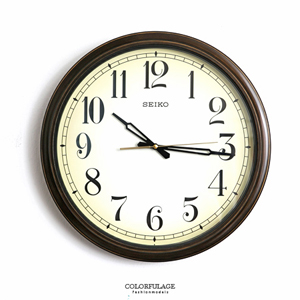SEIKO復古米黃色大尺寸時鐘