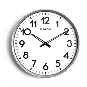 SEIKO銀色無秒針大尺寸時鐘