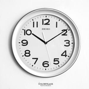 SEIKO簡約銀大尺寸時鐘