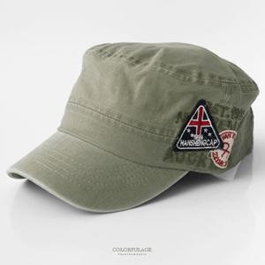 潮流復古洗舊三角標誌軍帽