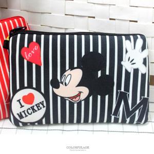 正版迪士尼Disney條紋收納包