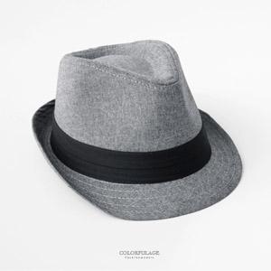 日系風素面棉質灰色紳士帽