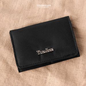 沉穩黑色翻式零錢包/卡片夾