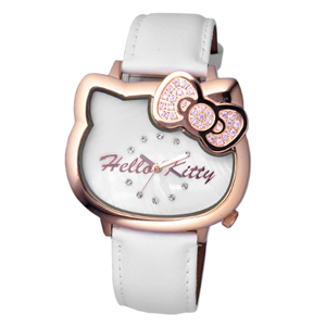 Hello Kitty玫金珍珠貝面腕錶