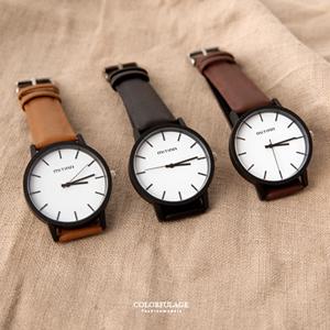 簡約刻度大框質感皮革手錶